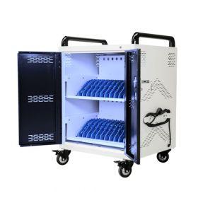 Chariot tablettes / ordinnateurs pour 24 appareils - Lampe UV-C antibactérienne - Safecart 24